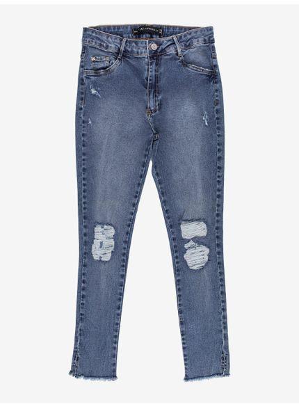 calca jeans barra desfiada skinny t7104 look