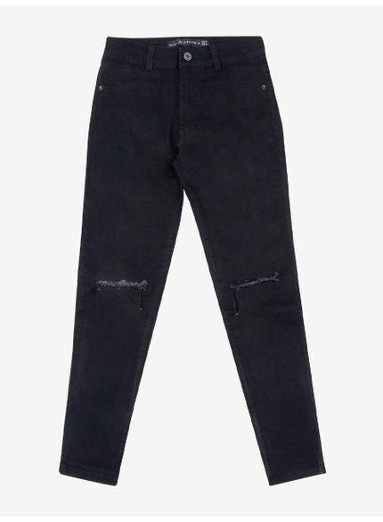 calca jeans preta rasgos joelhos authoria t6669 frente