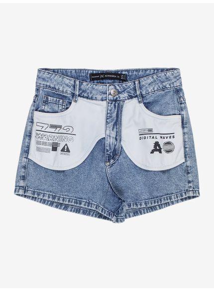 short jeans feminino bolso estampado t7115 still
