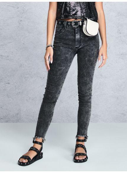 calca jeans skinny barra desfiada preta t6976