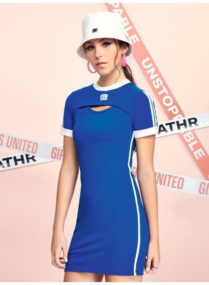 vestido curto azul abertura frontal t7075 look