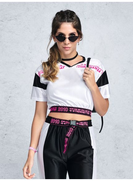 blusa croppes esportiva neon t7082 look