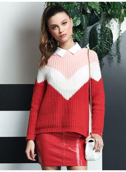 sueter tricot vermelho listrado t5782