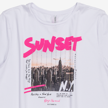 T shirt Feminina Sunset Branca t7059