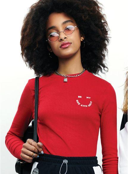 blusa juvenil malha canelada vermelha t6701