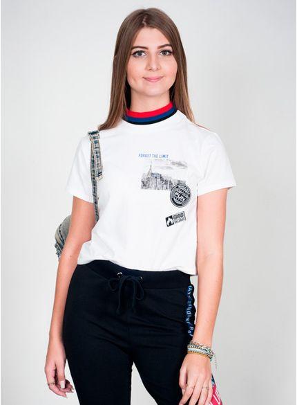 blusa juvenil gola alta com patch t6686 look