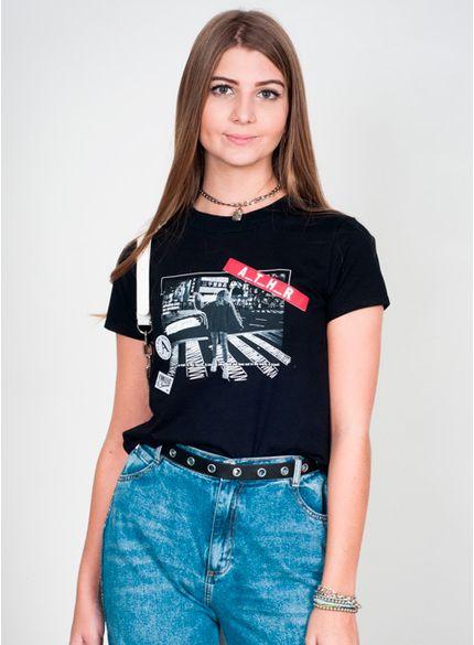 camiseta juvenil feminina black photo t6730 look