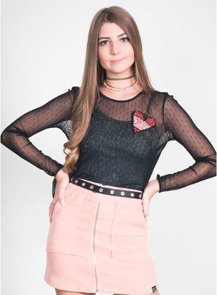 blusa juvenil de tule com patch coracao t6917 look