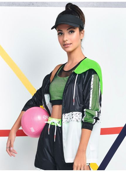 jaqueta corta vento esportiva juvenil feminina verde neon v0024