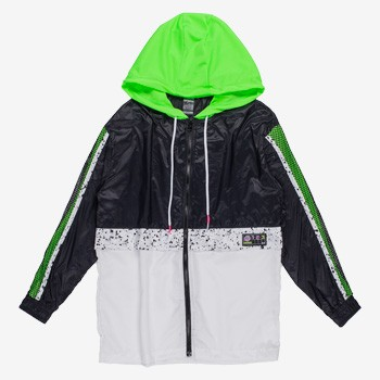 jaqueta corta vento esportiva juvenil feminina verde neon detalhe