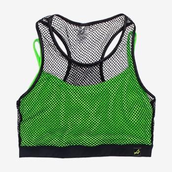 Top Esportivo Feminino Juvenil com Tela Verde Neon v0025 detalhe