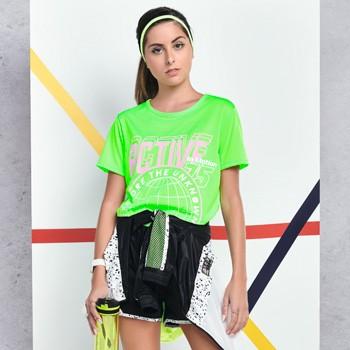 blusa cropped esportivo juvenil feminino verde neon v0029 detalhe
