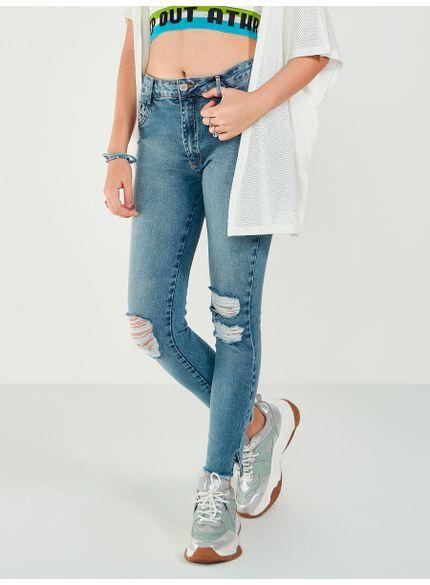 calca jeans barra desfiada skinny t7104