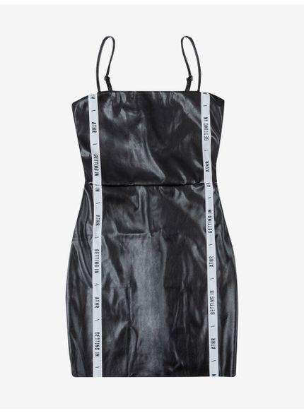 vestido juvenil feminino fake leather preto authoria t6785 still
