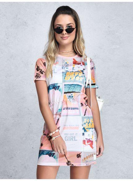 vestido juvenil tela furadinha estampado rosa t7266