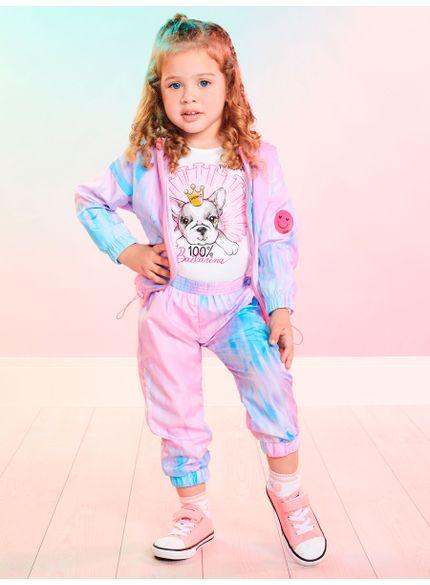 conjunto infantil feminino tie dye rosa momi