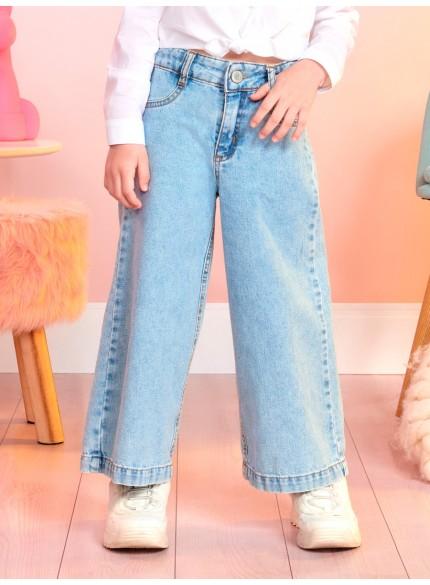 calca jeans pantalona infantil feminina momi