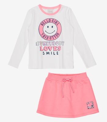 Conjunto Infantil Feminino Manga Longa Smile Momi H2830