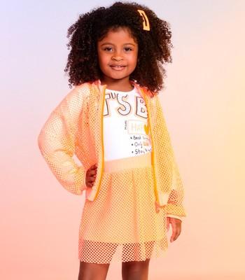 conjunto infantil menina saia de telinha laranja momi h2876