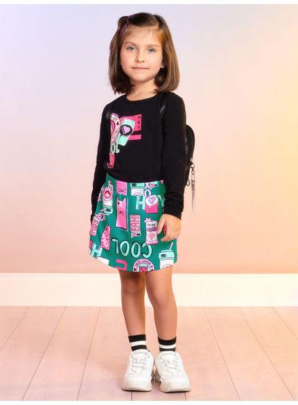 conjunto infantil feminino cool manga longa preto momi