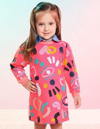 Vestido Infantil Estampado Rosa Momi