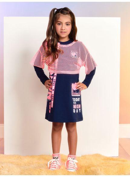 conjunto infantil vestido com blusa de telinha rosa momi