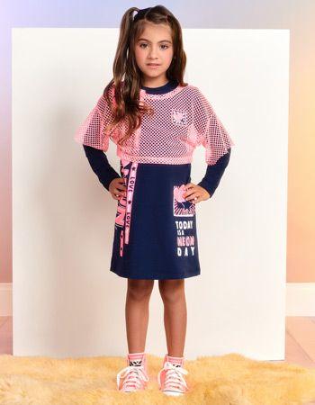 Conjunto Infantil Vestido com Blusa de Telinha Rosa Momi H2913