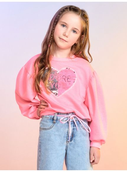 casaco de moletom infantil rosa manga bufante momi