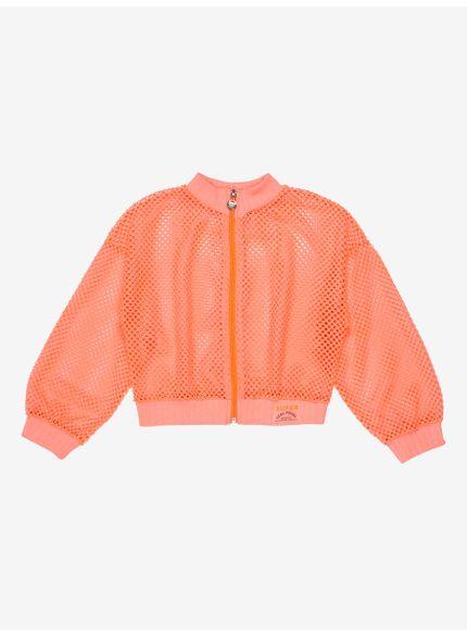 jaqueta infantil menina telinha laranja neon momi