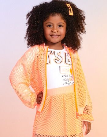 jaqueta infantil menina telinha laranja neon momi f9836
