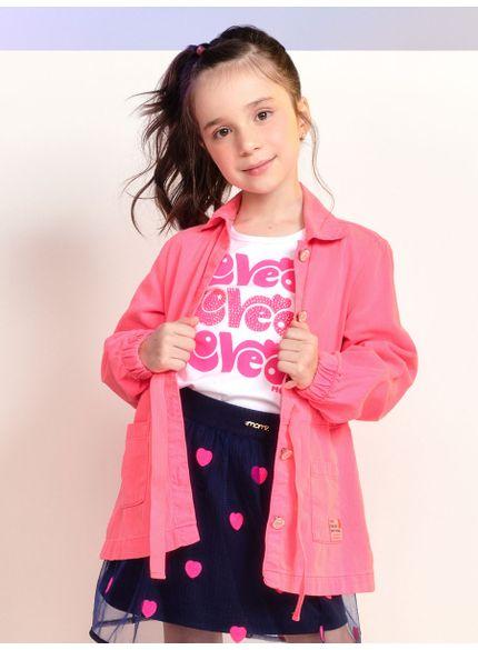 jaqueta parka infantil menina rosa com lacinho momi