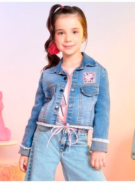jaqueta jeans infantil menina barra desfiada momi