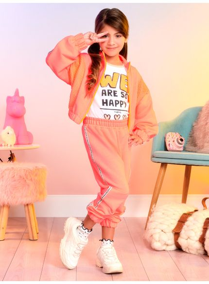 agasalho infantil menina de moletom laranja momi