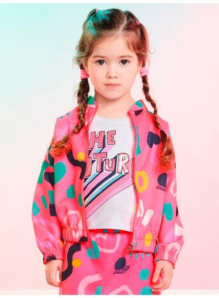 jaqueta infantil menina rosa estampa coracoes momi