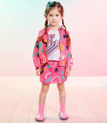Jaqueta Infantil Menina Rosa Estampa Coracoes Momi J3740