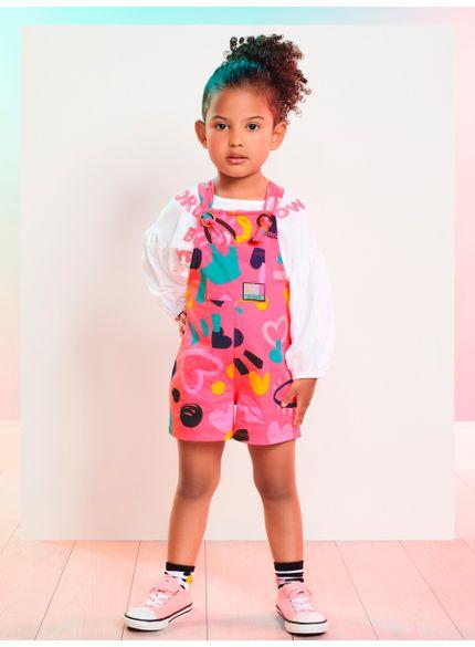 jardineira infantil menina estampado rosa momi