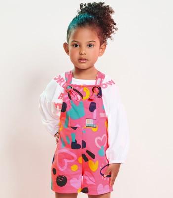 Jardineira Infantil Menina Estampado Rosa Momi J3463