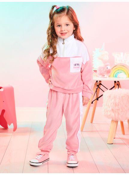 conjunto infantil feminino de plush rosa momi