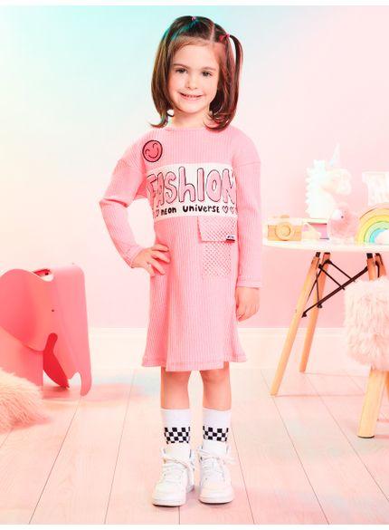 vestido infantil rosa bolso em telinha momi