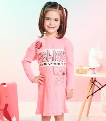Vestido Infantil Rosa Bolso em Telinha Momi J3626