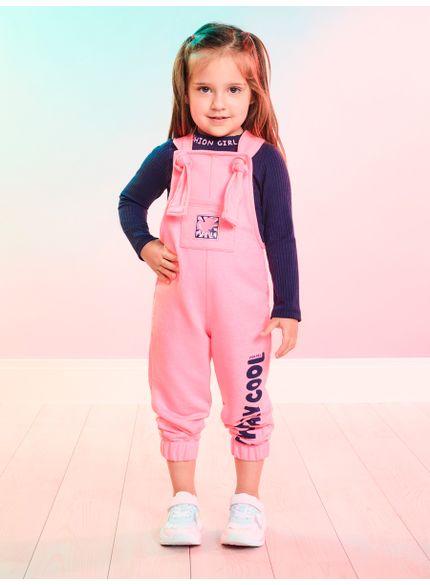 jardineira infantil feminina rosa cool momi