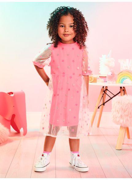 vestido infantil de tule rosa com estrelas momi