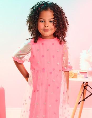 Vestido Infantil de Tule Rosa com Estrelas Momi J3567