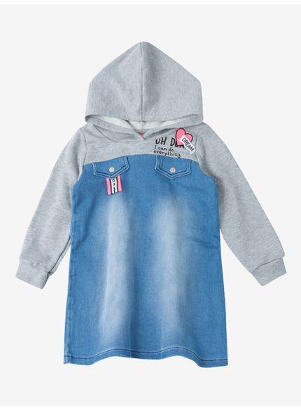 vestido infantil com aplicacao patch momi