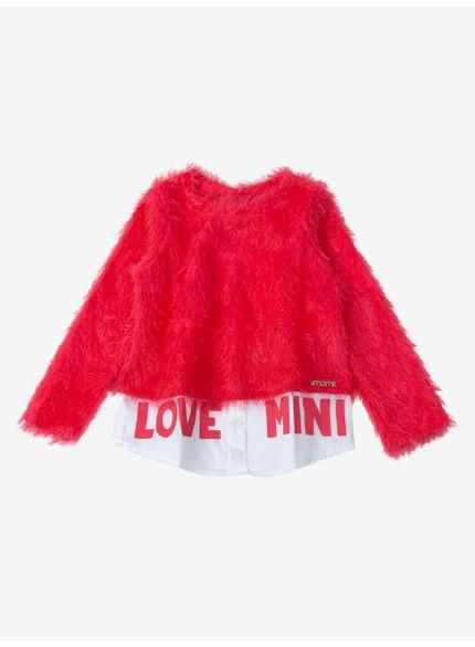 casaco infantil menina fluffly vermelho momi