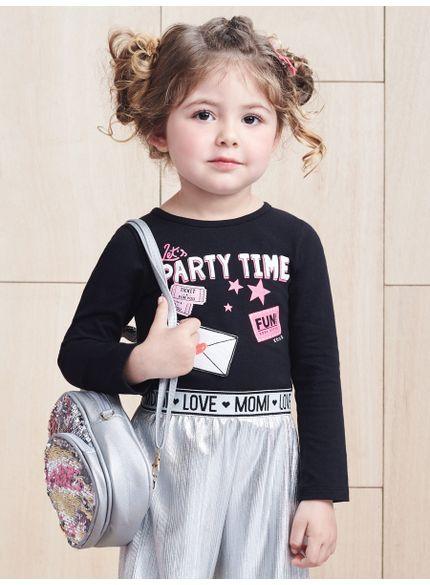 blusa infantil feminina preta manga longa momi