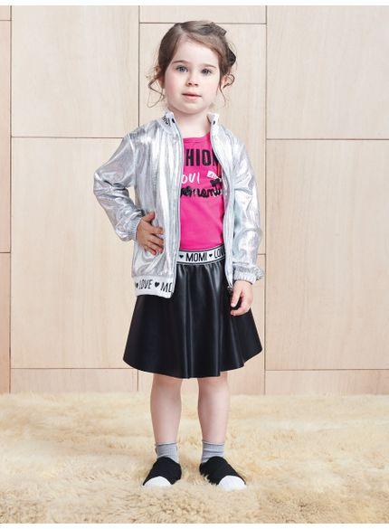 conjunto infantil menina com patch rosa e preto momi look