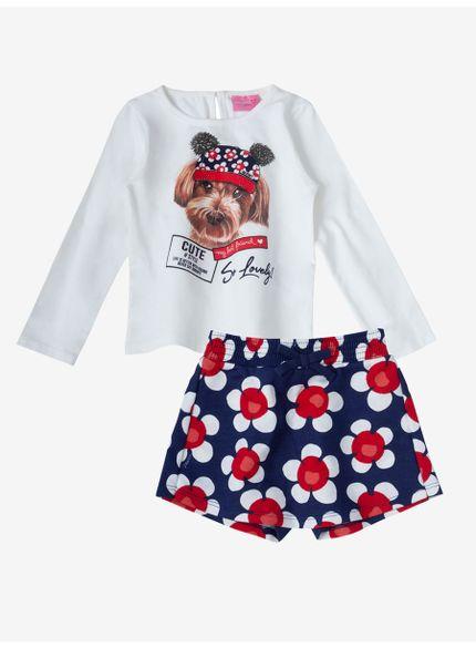 conjunto infantil feminino floral branco e azul momi look