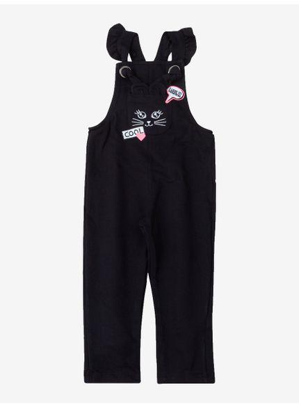 jardineira infantil menina com patch preto momi