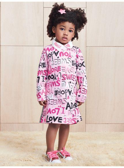 vestido infantil estampa lettering rosa momi